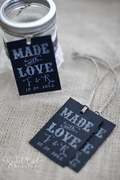 Made with Love Wedding Favor Tags Thank You Gift Tags Wedding Favor Tags Shower Favor Vintage Wedding Custom Personalized Calligraphy Stamp. $40.00, via Etsy.