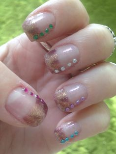 Metallic French Tips with Gems