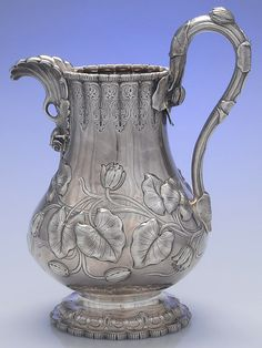 Tiffany & Co coin silver water pitcher with a vine motif, c1860 (replacements)