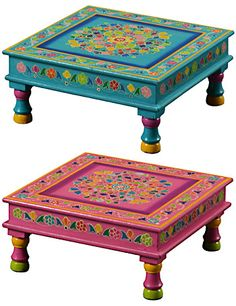 Handpainted indian bajot coffee table