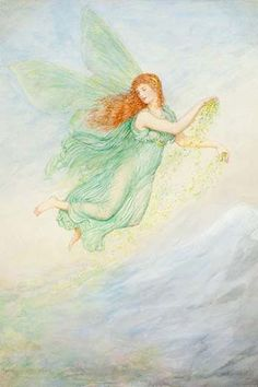 British watercolor of a fairy.. High quality vintage art reproduction by Buyenlarge. One of many rare and wonderful images brought forward in time. I hope they bring you pleasure each and every time y