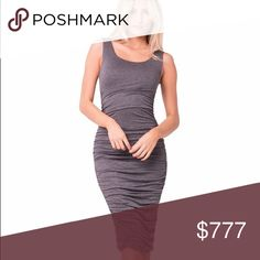 ✨Coming Soon✨Ruched Midi Dress $49 Never go wrong with a tank ruche dress. Has double layers so it's not sheer at all. Charcoal Midi length dress with ruching all on the sides. You can Pair this babe with just about anything!! Goes with all styles. Even sneakers and a denim jacket. Price is firm unless bundled. No offers. Queenstown Boutique Dresses Midi