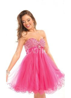 Sweet Pink Sweetheart Empire Short Organza Prom Dress With Beading And Flouncing