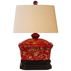 Sukumi Red Lacquer Box Table Lamp