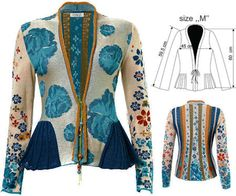 IVKO Woman`s Cotton Jacket Style 51611 034 in Adria blue.  Floral pattern with hand painted beaded front ties. Light orange lapel trim done in an intricate crochet knit. Side peplum panels evoke a seashells outer layer.