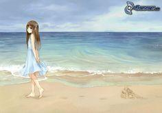 cartoon-girl,-sea,-beach-195664.jpg (674×473)