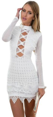 Sexy Cut out Club White cheap cocktail dresses #women #club #dresses #mini #white