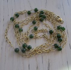 Green Jade Long Necklace Gold Chain Necklace Wire by MahsanAmoui