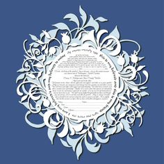 Ketubah marriage contract Pom Dream simulated by KetubahLA on Etsy