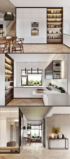 In second picture like the idea of open  shelves on end of high cupboards