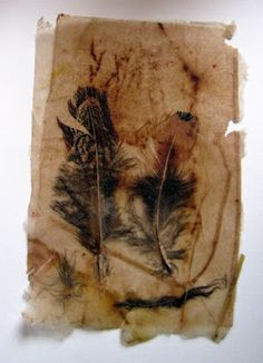 Laminating flowers and leaves in between tea bags - Letting in the Light: Tea Bags and Creations