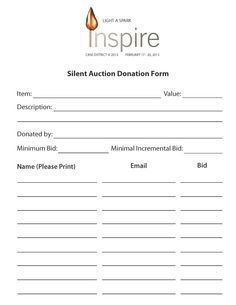 Sample Bid Sheet Silent Auction Bid Sheets  Interlock