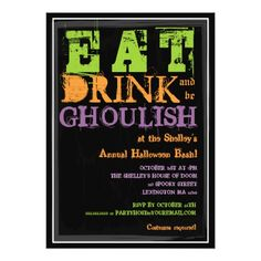 Eat, Drink & Be Ghoulish! Halloween Party Card