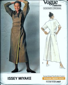Vintage 2427 Vogue Issey Miyake Designer Original Dress Sewing Pattern Size 12 Bust 34 UNCUT by vintagepatternstore on Etsy