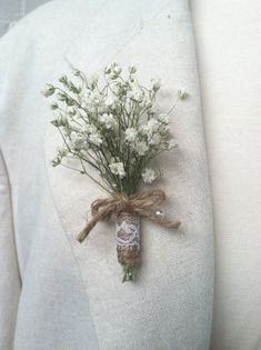 Baby's Breath Boutonniere Real Dried Flowers Wedding Groom Lapel Pin Jute Wrapped Stem With Ivory Lace