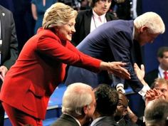 09/27/16 Pinner: Saving this photo as a reminder that Hillary was awkward in meeting the audience. I've noticed this before. Chelsea came up on stage and Hillary ignored her. Then Hillary and Bill started greeting their cronies in the front row. Chelsea and husband stood awkwardly behind them, left out. (Trump and gang didn't have cronies to run to, it seemed.) ~ Trump Bludgeons Clinton on Trade; Forces Her to Defend NAFTA