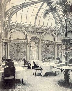 "Art Nouveau restaurant in Paris,France: ""La Fermette Marbeuf"", originally created around 1898-1900 as the dining room of Hôtel Langham, then covered up when the style had become unfashionable.It was rediscovered by accident in 1978 and then restored to life."