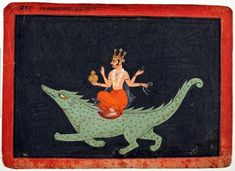 Article with links to tales v spoken in Proto Indo European . This watercolor depicting the Hindu god Varuna riding a sea monster dates from A. Ahura Mazda, Sanskrit, Dossier Photo, Orisha, Hindu Deities, Hindu Art, Sea Monsters, Indian Paintings, Gods And Goddesses