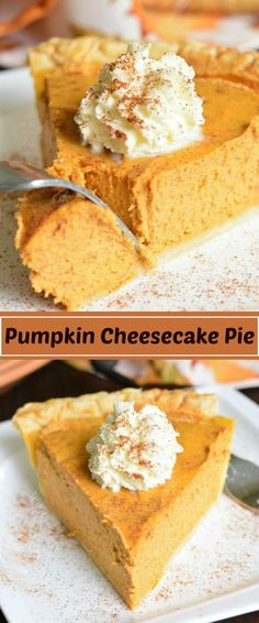 This PUMPKIN CHEESECAKE PIE is a combination of a classic pumpkin pie with silky., PUMPKIN CHEESECAKE PIE is a combination of a classic pumpkin pie with silky creaminess of a cheesecake. This easy dessert is perfect to serve at . Homemade Pumpkin Pie, Pumpkin Pie Recipes, Pumkin Pie Easy, Pumpkin Tarts, Homemade Pies, Easy Pie Recipes, Easy Cheesecake Recipes, Homemade Vanilla, Pumpkin Pie Spice