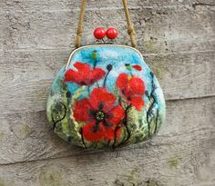 Nuno Felted Coin Purse red Poppies with bronze bag by MSbluesky, $86.00