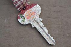 Hand Painted Santa Key Ornament by coriekline on Etsy, $8.00