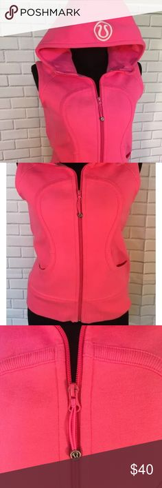 """Women's Lululemon Suns Out Guns Out Vest Pink Hood Size unknown see measurements- M/L?  Very thick material, big hoodie with big lulu logo and zipper also has silver lulu hardware. Two pockets in front. Very comfy and stylish! It's lined with fleece inside. It has normal ware from wash but in great used condition.  Gently pre owned, great condition  MEASUREMENTS: LAYING FLAT  BUST- ARMPIT TO ARMPIT: 19""""  LENGTH- SHOULDER TO HEM: 25"""" lululemon athletica Jackets & Coats Vests"""