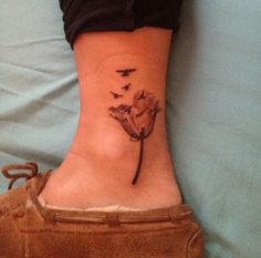 tulip ankle tattoo for the Dutch side ♡