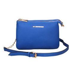 Michael Kors Bedford Gusset Medium Blue Crossbody Bags