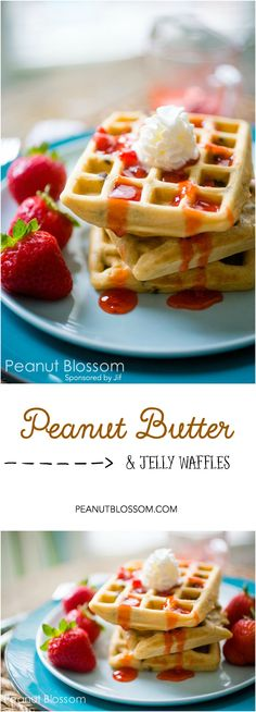 Peanut butter chocolate chip waffles with homemade strawberry freezer jam. YUM! This recipe is perfect for using your waffle maker. They freeze and reheat perfectly.