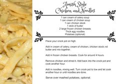 Amish Style Chicken and Noodles - The (mis)Adventures of a Homesteadin' Mama Slow Cooker Recipes, Crockpot Recipes, Chicken Recipes, Cooking Recipes, Freezer Recipes, Cooking Ideas, Amish Chicken, Canned Chicken, Cracker Chicken