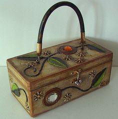 Vintage MOD Enid Collins PAPIER MACHE Jewel LOLLIPOP Flowers Wood Box Bag MINT