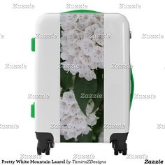 Pretty White Mountain Laurel Carry-on Luggage Suitcase.  Choose your size luggage Carry-on, Medium or Large. Keep the Handles, Wheels and Bumper Colors Green and Black as shown, or choose your own.  This is a one-of-a-kind custom design.  Original Photography by TamiraZDesigns.