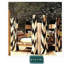 I thInk Ill Use paint canvas dropclothes/good for outdoors..or Ikea curtains. paint chevron pattern for curtains and use pvc pipe and spray paint to get this look.