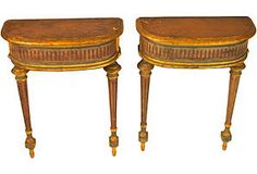 19th-C. Demilune Side Tables, Pair