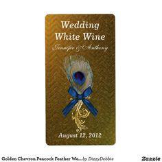 Golden Chevron Peacock Feather Wedding Mini Wine Label