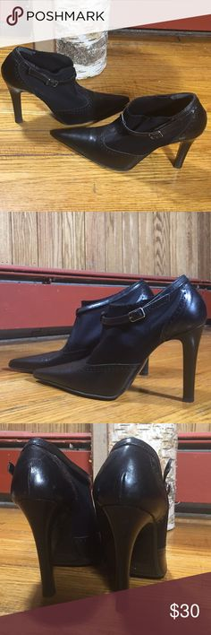"Massimo Baldi Italian black leather heels 7.5 Excellent condition. Very chic and unique! 3 3/4"" heel Massimo Baldi Shoes Heels"