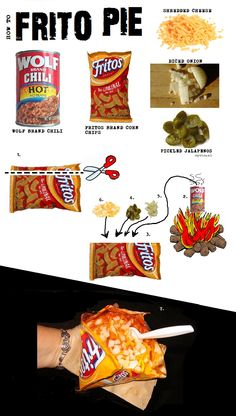 Chalk board how-to: Frito Pie: Taco-in-a-Bag's Southern Cousin Step 1: Open bag Step 2: Ladle in chili Step 3: Choose your toppings Yum!