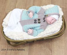CROCHET PATTERN For Buttons Hooded Baby Jacket in 3 by shifio