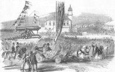 DURHAM: Russian gun, Seaham Harbour, near Sunderland, antique print, 1858