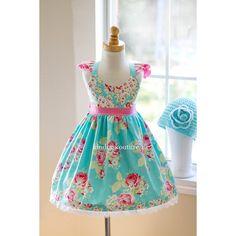 Lola Rose Dress (Aqua) - Kinder Kouture Boutique Clothing - 1