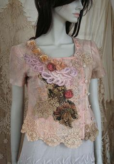 little promenade jacket no2-  extravagant  reworked vintage linen jacket, wearable art, hand embroidered and beaded details,