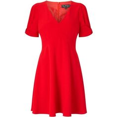 Miss Selfridge Red Bow Sleeve Dress ($68) ❤ liked on Polyvore featuring dresses, red, cap sleeve dress, fit and flare dress, fit flare dress, red tea dress and bow dress