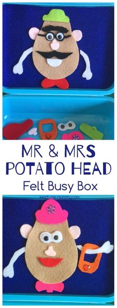 Head Felt Busy Box - Teach Me Mommy Potato Head Felt Busy Box Make this felt Mr & Mrs Potato Head busy box for hours of fun on the go!Potato Head Felt Busy Box Make this felt Mr & Mrs Potato Head busy box for hours of fun on the go! Quiet Time Activities, Toddler Activities, Preschool Activities, Airplane Activities, Projects For Kids, Sewing Projects, Crafts For Kids, Toddler Fun, Toddler Crafts