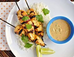 I love Thai flavors, and chicken satay is a favorite – butcombining it with a ginger-coconut rice? Yum!