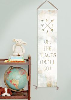 """Canvas growth chart for girl's or boy's room or gender neutral nursery decor. """"Oh the Places You'll Go"""" growth chart with vintage map peeking through a white foregrou"""