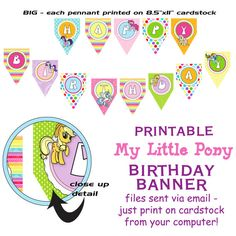 My Little Pony birthday banner - bright and happy colors!
