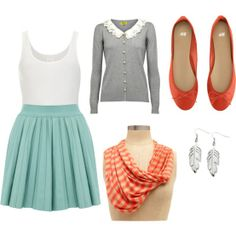 orange & teal spring outfit @ Styling in Style