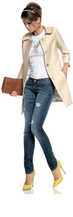 Casual jeans, stilletos and a blazer/trench .... a must have in a women's closet!