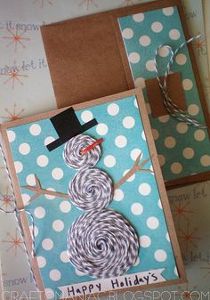 Snowman Christmas Card w/ Bakers Twine