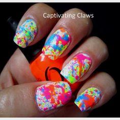 Splatter paint nail art.♥